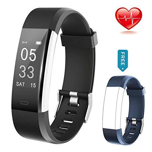 Lintelek Fitness Tracker Fitness Armband Fitness Uhr Schrittzähler Pulsmesser Herzfrequenzgerät Schlafmonitor IP67 Wasserdicht Anruf SMS Benachrichtigungen