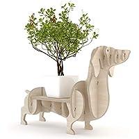 PERRO SALCHICHA Macetero de interior de madera de abedul. Estante, tiesto o expositor para plantas y objetos. Hecho a mano 66x39cm.