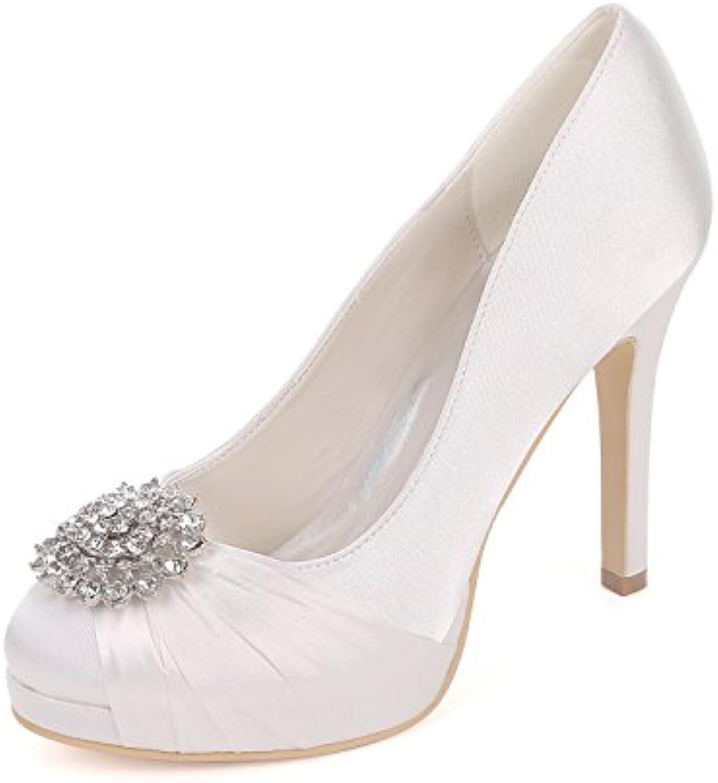 c67afaf0bf19 Flower-Age Flower-Age Flower-Age Z6915-02B Women`S Closed Toe Pleated  Chiffon Pumps Rhinestones Satin Wedding Bridal Shoes B07F49T8NX Parent  58794b
