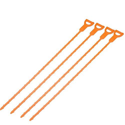 4 pz 51cm ABS Acqua Scarico Tubo Fognatura Capelli Clog Remover Gancio Strumento Cleaner Orange - Scarico Acqua Tubo