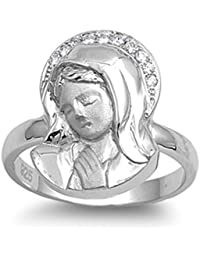 Bague en Argent fin à Zircon - Vierge Marie