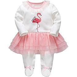 Recién Nacido Niñas Tutú Peleles A Rayas Mameluco Footies Pijama Bebé Tuta Outfits Princesa Trajes, 0-3 Meses