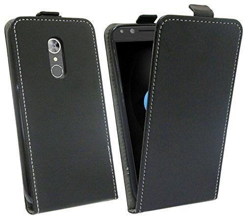 cofi1453 Alcatel 5 (5086D) // Klapptasche Schutztasche Schutzhülle Flip Tasche Hülle Zubehör Etui in Schwarz Tasche Hülle