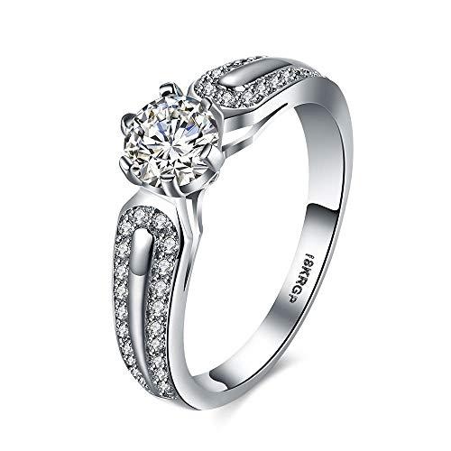 Cbcju fede nuziale anello da donna in oro placcato in oro con diamante e otto artiglio con anello in zircone 6 argento