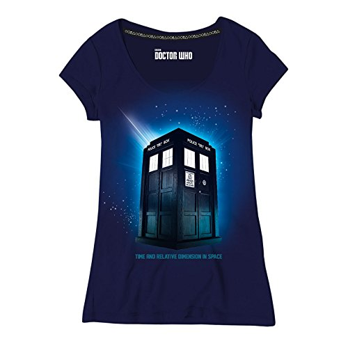 Doctor Who Damen T-Shirt Tardis Space zur Serie Baumwolle blau - L