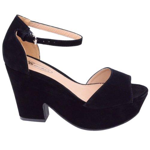 Femme Talon Haut Moyen Plateau Forme Plate Boucle Cheville Chaussure Taille Sandale Noir Daim