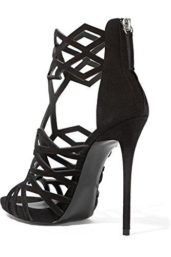 YMXJB Élégant en cuir noir percé Club cool bottes femmes Black