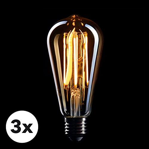 CROWN LED 3 x Edison Glühbirne E27 Fassung, Dimmbar, 5W, 2200K, Warmweiß, 230V, EL10, Antike Filament Beleuchtung im Retro Vintage Look