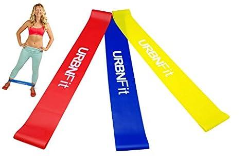 Übung-Schleifebänder Set - URBNFit - 3 Packung Widerstand Übungsband mit Training Handbuch-Training, Stretching und Rehabilitation (leicht, Mittel, (übungen Fürs Fitnessstudio)