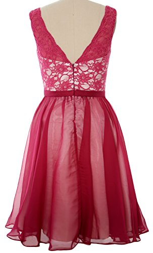 MACloth Women V Neck Two Tone Short Lace Bridesmaid Dress Cocktail Formal Gown Weinrot