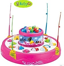 BabyGo Fish Catching Game Big with 26 Fishes and 4 Pods Fishing Game Includes Music and Lights (Multicolor)