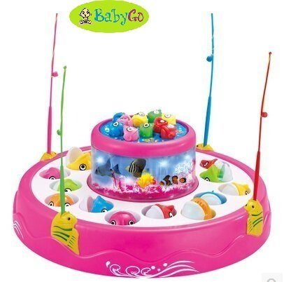BabyGo Fishing Electronic Double-layer Rotating Fishing Toy Set (Color may worry) (Pink)