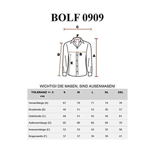 BOLF - Chemise casual – avec manches longues – Homme Bordeaux