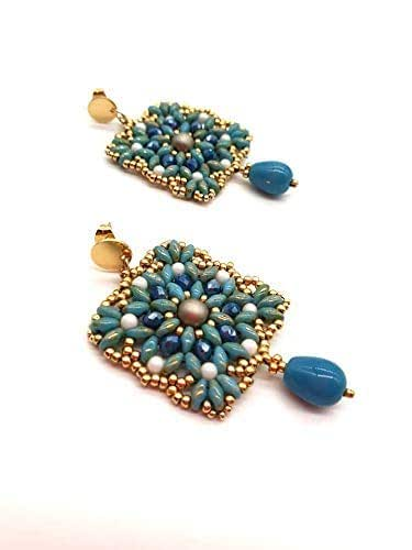 orecchini perline, orecchini turchese, placcato oro