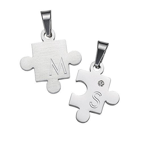 Gravado – Collares para Parejas – Pieza de Puzzle – Personalizado – Set de Regalo para Enamorados y Enamoradas – Joyas con Grabado