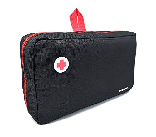 41aLkYKaV8L - Botiquín primeros auxilios SUPER ROL con 120 artículos indispensables para realizar curas de emergencia (NEGRO)