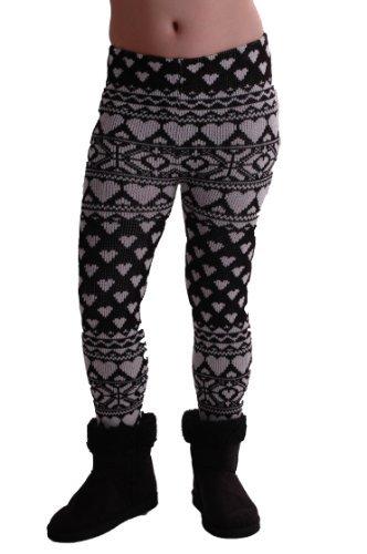 EyeCatchClothing - warme Damen Strick Strech kuschel Leggings mit Herz Muster, Einheitsgröße Schwarz Weiß