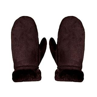 AiSi Womens Sheepskin Gloves Winter Warm Mittens with Cuff, Brown
