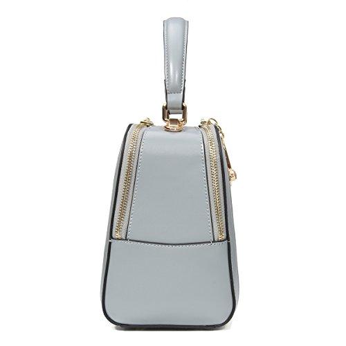 kadell Borsa a tracolla in pelle con manico a lunga cinghia con puro colore Shell del manico superiore Blu grigio Blu grigio