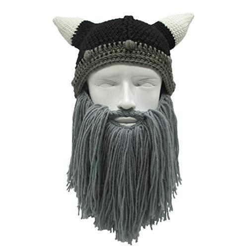 Männer/Frauen Winter häkeln Viking Beanie Hut mit Bart handgemachte Kostüm Cosplay Cap Foto Prop Gray