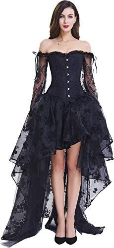 Szivyshi donna overbust corsetto stringato con spallina e gonna lunga s