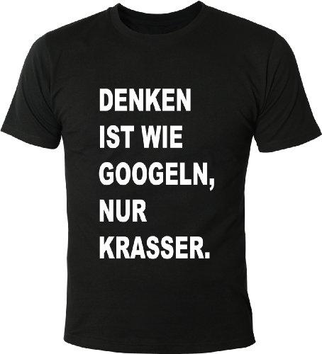 Zeigen Juniors T-shirt (Mister Merchandise Witziges Herren Männer T-Shirt Denken ist wie Googeln, nur krasser!, Größe: S, Farbe: Schwarz)