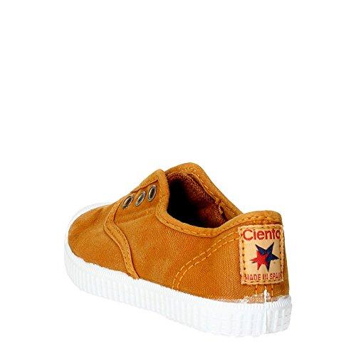 CIENTA - Blauer Schuh aus Stoff, made in Spain, auf der Vorderseite ein elastischer Einsatz, goldene Knopflöcher, Jungen Braun Leder