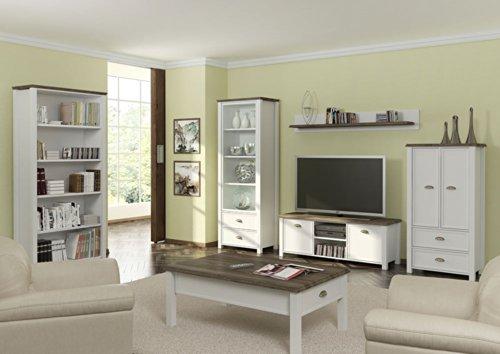 Anbauwand in weiß mit Applikation in San Remo-Eiche-NB, bestehend aus: Vitrine, TV-Bank, Kommode und Wandboard, Gesamtmaße: B/H/T ca. 280/193/36-43 cm