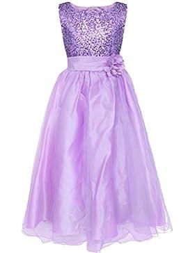WOLFTEETH Blumen-Mädchen-Kleid-Prinzessin Glitzer-Kleid-Abend-Hochzeitsbrautjunfer Kind 2-10 Jahre 1104