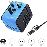 VGUARD Worldwide Travel Adapter, 4 USB Ports Universal Travel Adapter International Power Adapter Plug Adapter UK USA EU AUS Asia China Ireland Thailand 150+ Countries - Blue