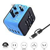 VGUARD Universal Reiseadapter, Weltweites Reise Ladegerät mit 4 USB Ports Ladegerät Reisestecker International Stromadapter Stecker für Europa Deutschland UK Australien USA Asien Thailand China -Blau
