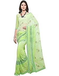 Ethnicjunction Chiffon Saree With Blouse Piece (Ej1168-70006_Green_Free Size)
