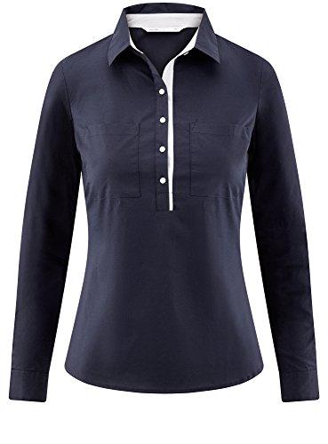 oodji Ultra Damen Tailliertes Hemd mit Brusttaschen Blau (7900N)