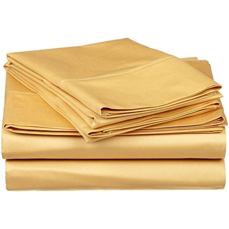 Tula Linen 500 Fils Parure de (7 lit 4 pcs (Or Solide, Emperor (7 de 'X7' 15,2 cm), Format de Poche 10 cm) 100% Coton égyptien de qualité Premium 6952a3
