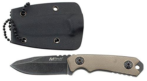 MTech USA Halsmesser MT-20-30 Serie, Messer G10 Griff, BEIGE EDC-Messer, Taschenmesser, Outdoormesser 5,08 cm ROSTFREI Feststehende Klinge für Outdoor/Schmuckstück/ Modisches Accessoire
