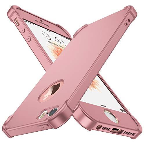 Coque iPhone 5/5S/SE,ORETech iPhone se/5s/5 avec[2 x Protecteur D'écran en Verre Trempé] Housse Hybride Robuste 2 en 1 Antichoc Mince Anti-Rayures Dur PC+TPU pour iPhone Se Case 4'' Or Rose