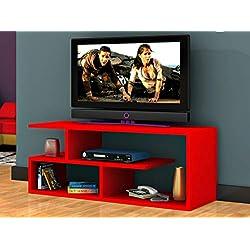 MEUBLE TV DESIGN FONCTIONNEL AVEC ETAGERE OPTIMUM ROUGE