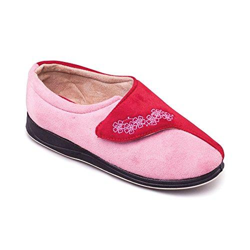 donne Padders scarpe 'Abbraccio' | Extra grande larghezza EE | 30 millimetri tallone | calzascarpe libero Red / Combi