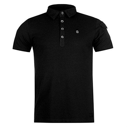 Firetrap Blackseal Herren Gnome Polo Shirt Freizeit Kurzarm Polohemd Baumwolle Schwarz