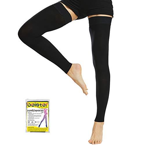 Beister, calze medicali a compressione graduata senza piede, altezza coscia, con fascia in silicone, per donne e uomini, 20 - 30 mmhg, per vene varicose, edema, volo