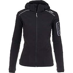 CMP Softshelljacken für Damen Softshell Jacke Fahrradjacke Fahrradregenjacke schwarz große Mädchen Funktions-Outdoor-Wandern-Jacke atmungsaktiv, Farbe:Black, Größe:46