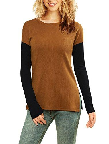 XS (US 2) , Brown : Allegra K Women's Color Block Side-Slit Paneled Slim Fit Ribbed Top