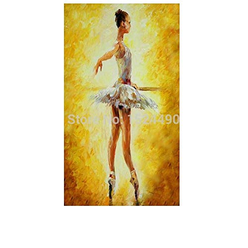 ZXCVB Handgemaltes Ölgemäldehand-Painted White Dress Ballet Girl And Yellow Background Oil Painting Villa Hotel The Aitting Room Corridor Murals On Canvas,60X120Cm