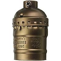 SODIAL Base de la lampara Vintage Edison Soporte de adaptador Soporte E27 de Bombilla de tornillo - Apto para bombilla desnuda Caracteristicas Sin interruptor sin alambre Laton antiguo