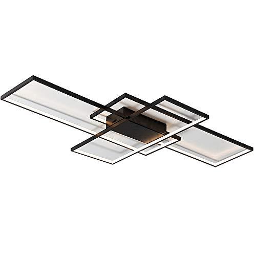 LED Deckenleuchte Deckenlampe Dimmbar mit Fernbedienung Modern Ring Rechteck Design Decken Licht für Wohnzimmer Schlafzimmer Küche Esszimmer Büro Halle Treppe Wandleuchte Beleuchtung, Schwarz, L140CM