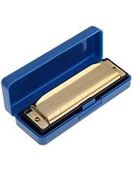 ultifit (TM) cisne Arm¨®nica diat¨®nica de 10 agujeros arpa de los azules del ¨®rgano de boca Arm¨®nicas clave de C instrumento de leng¨¹eta con el caso de plata y oro