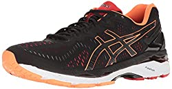 ASICS Mens Gel-Kayano 23 Running Shoe, Black/Hot Orange/Vermilion, 7 M US