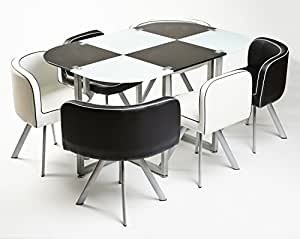 MODERN MIAMI DINING TABLE WITH 6 CHAIRS (BLACK AND WHITE)