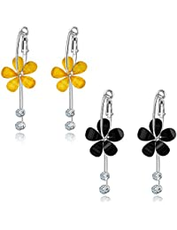 f2c5577d739 Jewels Galaxy Crystal Elements Limited Edition Sparkling Colors Splendid  Floral Drop Earrings For Women Girls
