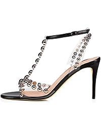 d00b1dd325d MAKAFJ Las Mujeres de Moda de tacón Alto Dedo del pie Puntiagudo Correas  del Tobillo Studs Stiletto Sandalias de…